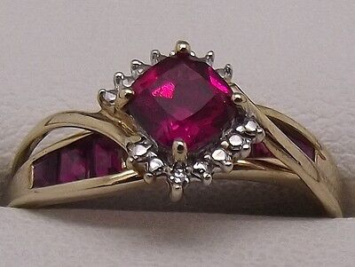 Solid 9Ct Yellow Gold Natural Diamond & Red Stone Dress Ring