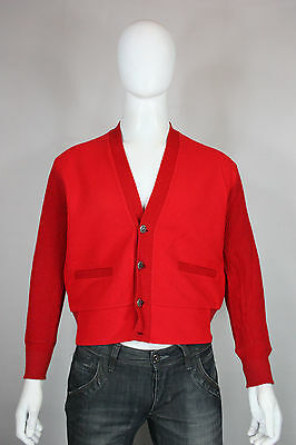 Vintage wool cardigan M 50's 60's rockabilly red sweater Brent