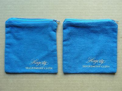 (Set Of 2) Hagerty Silversmiths' Blue Zippered Cloths Bags