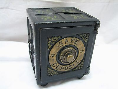 Rare Antique Heany Hart Cast Iron Toy Safe Deposit Still Dime Bank Toy Brass