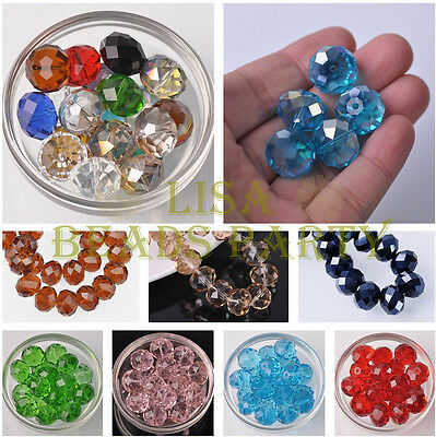 5pcs 18x13mm Large Rondelle Faceted Crystal Glass Loose Beads 30 Colours