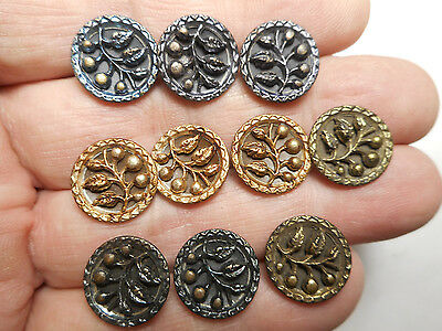 """Matching Lot 10 Victorian Flower Antique Tinted Brass Buttons 9/16"""" RS"""