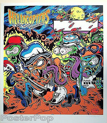 Dirty Donny Hellacopters Signed Silkscreen Paper Poster 2007 Pinball Backglass