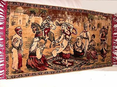 BELGIUM Made, Vintage Rug Wall Hanging Tapestry w Fringe, Woman Dancing SUPERB!