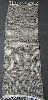 "Antique Loom Hand Made Camo Rag Rug 58"" X 21"""