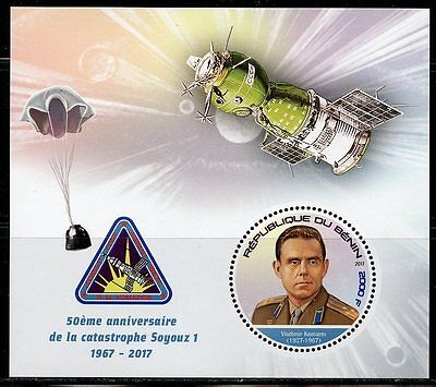 BENIN 2017 50th  ANNIVERSARY OF THE SOYUZ I CATASTROPHE SOUVENIR SHEET  MINT NH
