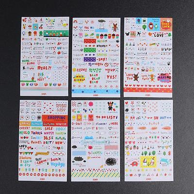 6 Sheets DIY Rabbit Cute Cartoon Decorative Diary Sticker Album Label for Kids