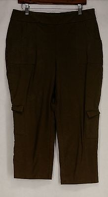Women with Control Pants L Cropped Cargo Style Olive Green New 2nd