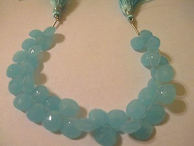 """7"""" Strand Faceted Genuine Blue Chalcedony Beads 10x10x5.5mm 38 Pcs  DBC"""