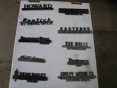 Lot Of 10 Vehicle Vintage Chrome Metal Dealership Emblems Plates