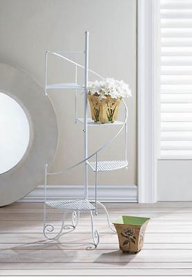 NEW WHITE SPIRAL SHOWCASE PLANT STAND. Nice Decor Item.  FREE SHIPPING