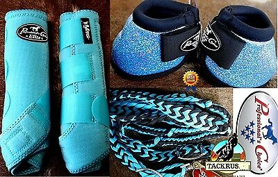 M Professional Choice Horse Sports Secure Fit Bell Boots Turquoise Set 93125TC3