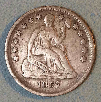 1857 Seated Half Dime Sharp FREE SHIPPING