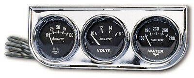 "AUTOMETER Three-Gauge Console 2-1/16"" OIL PRESSURE WATER TEMP VOLT METER AU2349"