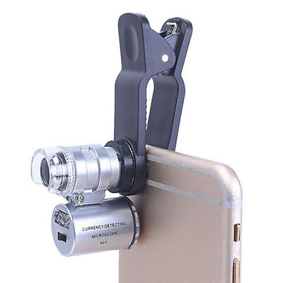 60X Handheld Mini Pocket Microscope Loupe with Clamp LED Light for Mobile Phone