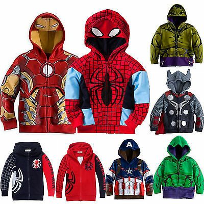 Kids Boys Superhero Costume Hoodies Sweatshirt Jumper Top Jacket Clothes Outfits