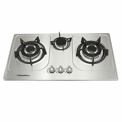 Windmax Silver 72cm 3 Burner Stainless Steel Gas Cooktop Hob & Cast Iron Trivets