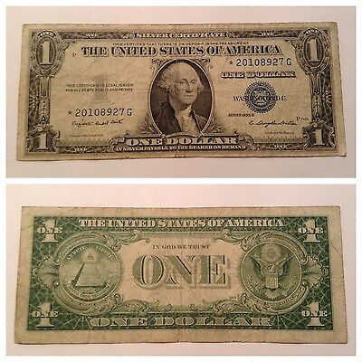 Vintage 1935-G Star With Motto $1 Silver Certificate Washington One Dollar Blue