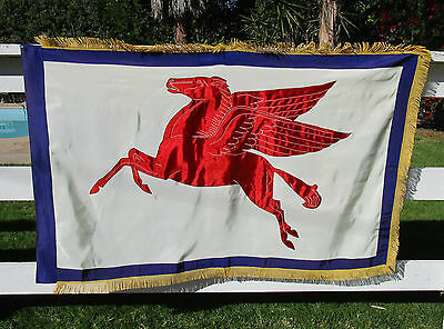 Vtg 40's Ex Large Heavy Crepe Fringed Mobil Gas Flying Horse Pegasus Oil Banner