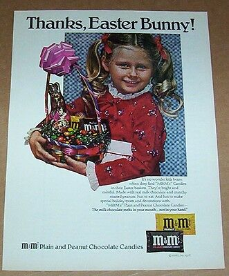 1978 print ad page - M&M's chocolate candy Easter cute little girl ADVERTISING