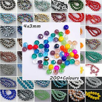 200Colours 4x3mm Crystal Glass Rondelle Faceted Loose Spacer Beads Lots