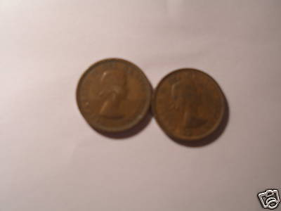 Two Varieties Canada Penny 1 Cent Coins 1953 Sf & Nsf