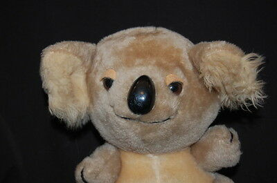 "RUSS KOALA BEAR GRAY TAN HARD PLASTIC NOSE 9"" VTG Plush Stuffed Animal Lovey Toy"