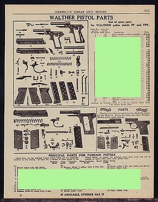 1944 WALTHER Police PP PPK Pistol Parts List AD