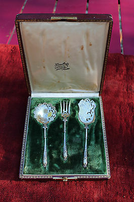 Gabert French Sterling Gold wash, Hors D'oeuvre Dessert Set 3 pc, original box