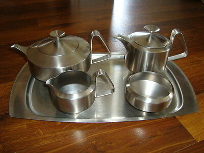 1960`s ICON Old Hall Robert Welch Alveston 5 piece vintage stainless tea set.