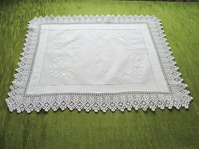 "Antique Tray Cloth-Embroidery & Hand Crochet Trim-19"" X 24"""