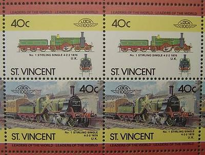1870 GNR No.1 STIRLING SINGLE 4-2-2 Train 50-Stamp Sheet (Leaders of the World)