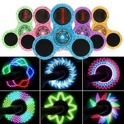 LED Flash Letters Light Crystal Fidget Hand Spinner Finger Toy Focus Gyro Gift