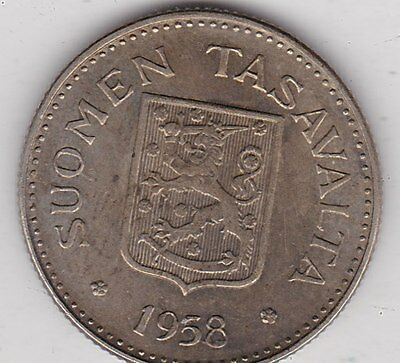 1958H Finland Silver 200 Markkaa In Near Mint Condition