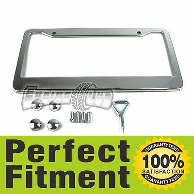 12' x 6' Chrome Stainless Steel License Plate Frame Tag Cover Screw Caps Silver1