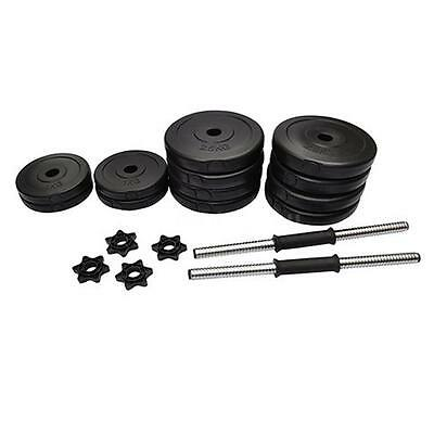 New Dumbbell Set Dumbells Barbell Plastic Covered Weights 25kg H4W8