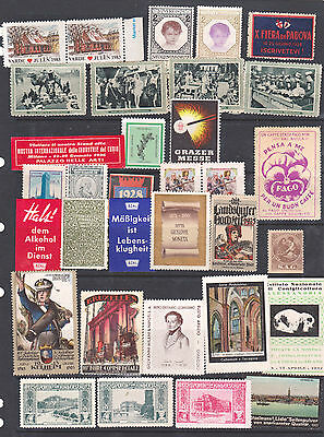 Poster Stamps, A Collection Of 33 Various Countries Labels