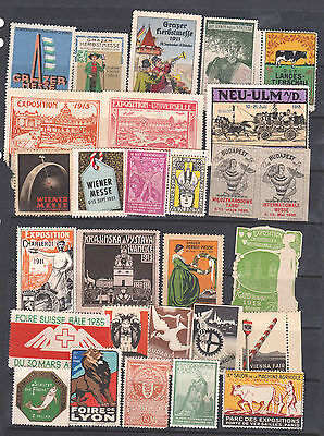 Poster Stamps, A Collection Of 28 Various Countries Exhibition Labels