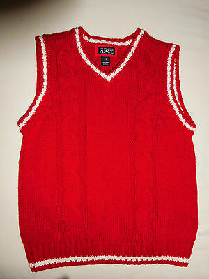 The CHILDREN'S PLACE Boys 3T Cable Knit Sweater Vest Red with White Trim  V-Neck