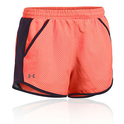 Under Armour Fly By Perforated Damen Laufhose Shorts Jogging Kurze Hose Orange