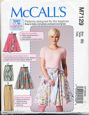 Mccalls Sewing Pattern 7129 Misses 16-24 Easy Reversible Wrap Skirts, Plus Sizes