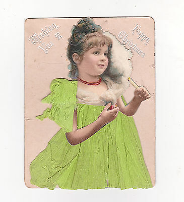 Victorian Christmas Card, Girl In A Green Dress  With Fan, C. 1890's