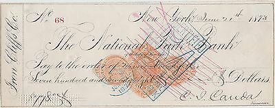 1873 Check ~ The National Park Bank of City of New York - from Cliff & Co. $778