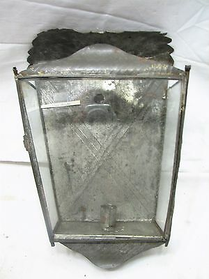 Antique Primitive Tin Box Candle Sconce Glass Housing Lamp Light Porch Wall
