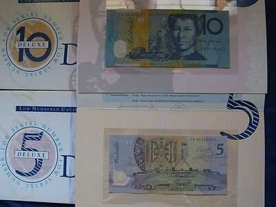 (1994) 5 & 10 Dollars.. Fraser/Evans. Matched Low  Serial Numbers.. UNC