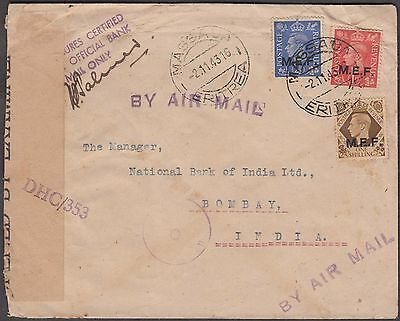 Eritrea W/ Middle East Forces O/p 3 Values On 1943 Censor Airmail Cover To India