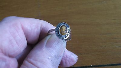 METAL DETECTING FIND SOLID SILVER STAMPED RING WITH LARGE REAL AMBER STONE  99p