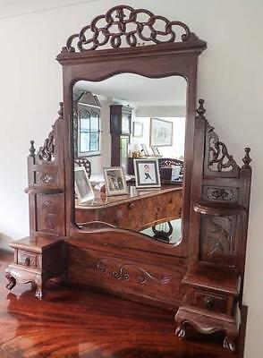 Antique Chinese carved and pierced hardwood dressing table mirror c.1900