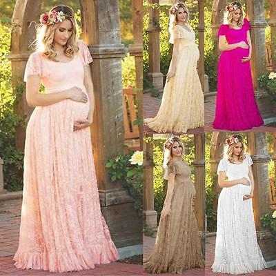 Pregnant Women Floral Lace Short Sleeve Maternity Photography Long Maxi Dress UK
