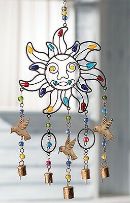 NAMASTE Fair Trade Iron Sun Indian Windchime with Beads  Copper Bells Wind Chime